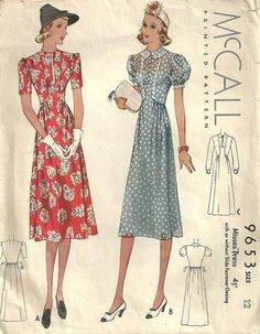 McCall 9653 Vintage 1930s Sewing Pattern Dress by studioGpatterns, $28.50