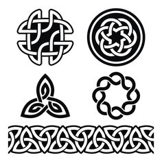 Celtic Irish green patterns and knots - vector, St Patrick's Day by RedKoala Celtic Tattoo Symbols, Celtic Tattoos, Viking Tattoos, Irish Celtic, Celtic Art, Tattoos Skull, Tribal Tattoos, Face Tattoos, Knuckle Tattoos