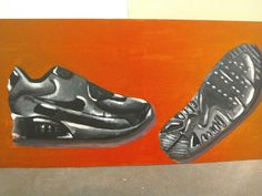 This is a painting of Nike air shoe i have done using acrylic paint. It took me ages to get the highlight and the shadows right so the shoe standout more. So used black,grey,white, little bit of purple under the shoe. I used the red for the background so it goes with the Nike air box. I showed it to my illustrator who was pleased about and i was happy  about it .