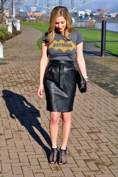 T-shirt and leather pencil skirt.||so me with that batman tee