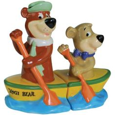 """Westland Giftware Yogi Bear Yogi and Boo-Boo Canoe 3-3/4-Inch Magnetic Salt and Pepper Shakers by Westland Giftware. $15.54. High quality. Cute kitchen accessory. Not microwave or dishwasher safe. Wonderful gift item. Magnetic insert holds the shakers together in a fun pose. Everyone's favorite """"pic-a-nic basket"""" stealing bear is back! This magnetic salt and pepper shaker set will bring a little joy into your day. When the set is displayed together, it features Yogi and Boo-B..."""
