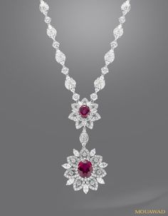 Ruby Necklaces Mouawad Jewelry - white gold, ruby and diamond necklace How much do you think this costs? Ruby And Diamond Necklace, Diamond Initial Necklace, Ruby Necklace, Ruby Jewelry, Diamond Pendant, Gold Jewelry, Jewelry Accessories, Fine Jewelry, Jewelry Design