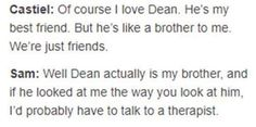 XD omg. This is perfect. So true!!! Bam Destiel proved.