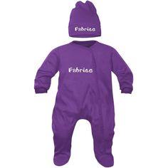 a6a3496666cf Ensemble personnalisé au PRÉNOM   pyjama bébé bonnet (7 couleurs au choix).  SiMEDIO
