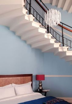 A staircase in the bedroom