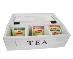 Tee-laatikko valkoinen 3 pussilokeroa