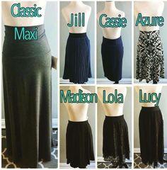Different LuLaRoe skirt styles