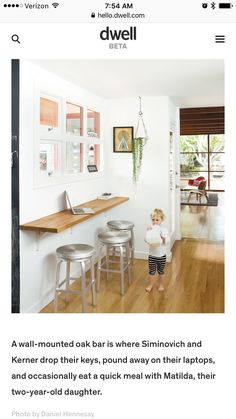 Small space solution for an eat-in kitchen: wall-mounted oak bar with bar seatin. Small space solution for an eat-in kitchen: wall-mounted oak bar with bar seating. A window between Breakfast Bar Kitchen, Eat In Kitchen, Kitchen Decor, Kitchen Ideas, Breakfast Nooks, Kitchen Bars, Kitchen Small, Breakfast Bar Small Kitchen, Space Kitchen