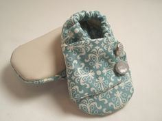 Blue & cream damask pattern baby girl shoes Lined by mossjessica, $12.00