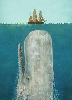 Illustration of Moby Dick by Terry Fan Art Et Illustration, Illustrations, Painting & Drawing, Whale Painting, Terry Fan, Whale Art, Whale Canvas, Big Whale, Pics Art