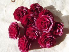 5 pcs Burgundy Satin Roses Flowers ...Applique by zeynepmelis
