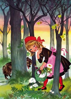 Felicitas Kuhn Little Red Riding Hood Illustration Children's Book Illustration, Digital Illustration, Food Illustrations, Charles Perrault, Psychedelic Drawings, Fairytale Art, Wolf, Red Riding Hood, Little Red
