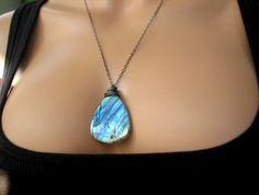 SALE Natural Labradorite Necklace Fire & Ice by HardCandyGems, $59.50