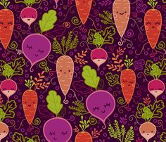 Adorable root vegetable fabric print from Spoonflower, designed by Oksancia. I love it! I want to make a farmer's market bag from it.