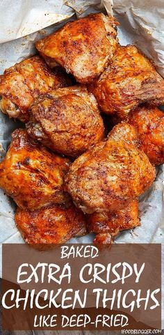 These oven-fried chicken thighs are extra crispy on the outside and very tender and juicy on the inside. There isn't a more succulent baked chicken thigh than this. They are like deep-fried chicken thighs, only without a mess and all the added calories. Crispy Oven Fries, Crispy Oven Fried Chicken, Fried Chicken Recipes, Fries In The Oven, Chicken Thigh Recipes Oven, Bake Chicken In Oven, Chicken Thigh Skin On Recipe, Chicken Thighs And Legs Recipe, Roasting Chicken In Oven
