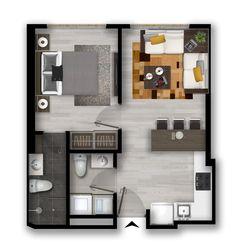 Studio Apartment Floor Plans, Studio Apartment Layout, Small Apartment Design, Apartment Plans, House Floor Design, Sims 4 House Design, Sims House, Small House Design, Home Building Design