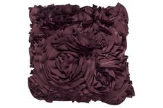 "Series Name:	Penelope - Eggplant  Item Name:	Pillow  Model #:	A1000070  Dimensions:	18"" SQUARE  Weight:	9 lbs"