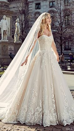 eddy k milano bridal 2017 sleeveless sweetheart lace ball gown wedding dress (md197) fv train veil / http://www.himisspuff.com/sweetheart-wedding-dresses/11/