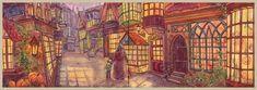Diagon Alley by CoalRye on DeviantArt Harry Potter Places, Harry Potter Fan Art, Slytherin, Hogwarts, Harry Potter Illustrations, Goblet Of Fire, Prisoner Of Azkaban, Diagon Alley, Deathly Hallows