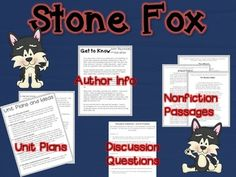 """Stone Fox"" Unit Resources & Plans... 42 pages including nonfiction reading passages, vocabulary, problem and solution, comparing and contrasting, grandparent interview activity, and cumulative quizzes, and more!"