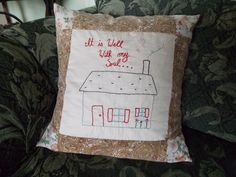 Items similar to Custom Hand Embroidered Pillow Case on Etsy Pillow Forms, Pillow Inserts, Big Pillows, Throw Pillows, Embroidered Pillows, Feather Pillows, Cotton Sheets, Vintage Cotton, Custom Pillows