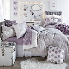 Grey Soft Loft Duvet and Sham Set – Dorm Room İdeas 2020 Purple Dorm Rooms, Purple Bedrooms, Purple Bedroom Decor, Lavender Bedrooms, Purple Home Decor, Winter Bedroom Decor, Room Ideas Bedroom, Girls Bedroom, Master Bedroom
