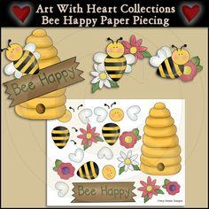 Bee Border Clip Art | Bee Happy Paper Piecing & Clip Art Download [PP9995] - $3.00 : Dollar ...