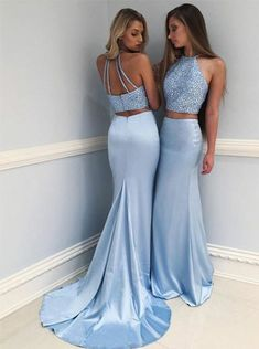 Eleg Glamour Two-Piece Round Neck Sweep Train Blue Prom Dress with Beading