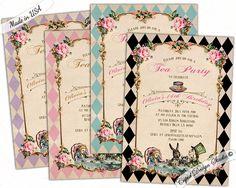 Birthday Invitation printable/Birthday party invitations/Mad hatter tea party invitations/Birthday invitation girl/Printable/Printed by CupidDesigns on Etsy