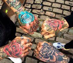 Traditional Hand tattoos by Matt Webb