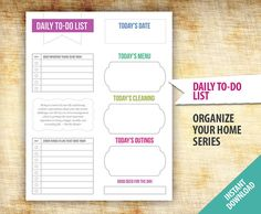 Daily To-Do List Planner Template - Printable - Organize Organization Template To Do List Daily Planner - INSTANT DOWNLOAD