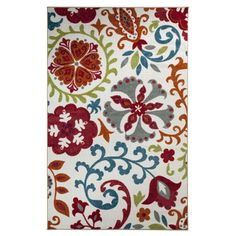 @Overstock.com - Idas Garden Rug (8' x 10') - Featuring a bold color palette of red, blue, and orange this bright contemporary rug boasts a vibrant pattern that will liven up any space. This beautifully designed, nylon rug works well with most contemporary, casual, and modern decors.  http://www.overstock.com/Home-Garden/Idas-Garden-Rug-8-x-10/8278930/product.html?CID=214117 $185.75