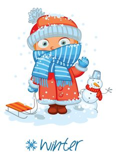 "Photo from album ""Времена года"" on Yandex. Winter Illustration, Christmas Illustration, Colegio Ideas, Weather Seasons, Teaching Techniques, Cute Clipart, Maria Jose, Months In A Year, Winter Time"