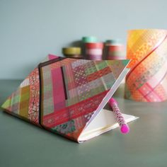 masking tape light and notebook - by Marie Claire Idées