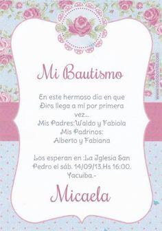 resultado de imagen para tarjeta de invitacion de bautismo de nenas