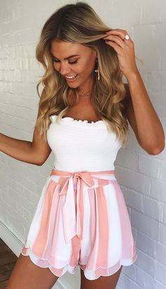 outfit summer shorts Pink White Striped Shorts Women Fashion 2018 Summer High Waist Frills Shorts Streetwear Bow Tie Streetwear Shorts Bottoms Source by shorts outfits Komplette Outfits, Teenage Outfits, Teen Fashion Outfits, Cute Casual Outfits, Cute Summer Outfits, Short Outfits, Outfits For Teens, Fashion Dresses, Cute Vacation Outfits