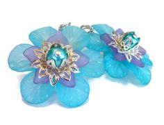 Large Flower Earrings in Turquoise Blue with by BlissfulVine, $20.00