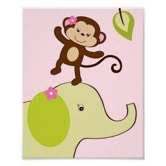animal nursery girl | Girl Monkey Jungle Animal Nursery Wall Art Print from Zazzle.com