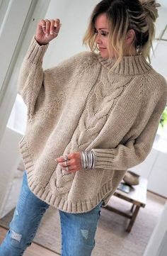Free and Sweet and Cool Crochet Sweater Pattern Ideas Part 44 ; knitting sweaters for women; knitting sweaters for beginners Poncho Pullover, Poncho Sweater, Knitted Poncho, Baby Cardigan, Pullover Sweaters, Sweater Knitting Patterns, Knitting Designs, Knitting Sweaters, Crochet Patterns