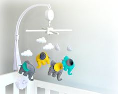 Musical Elephant baby mobile - crib mobile - yellow, gray, turquoise and white polka dots - nursery mobile - unisex mobile - MADE TO ORDER