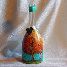 Darčeková fľaša Strom zaľúbených sovičiek