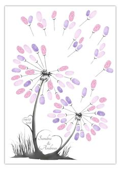 Die Fingerabdruck-Pusteblume eignet sich super als Alternative zum gewöhnlichen. The fingerprint dandelion is great as an alternative to the ordinary guest book for the wedding. Each guest leaves hi Wedding Tree Guest Book, Personalized Wedding Guest Book, Personalized Gifts For Her, Tree Wedding, Guestbook Wedding, Diy Wedding Presents, Wedding Gifts, Diy Wedding Shoes, Diy Wall Painting