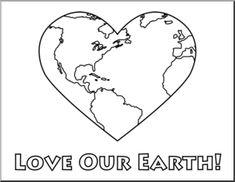 Clip Art: Earth: Love Our Earth B&W I abcteach.com | abcteach