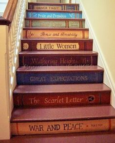 What a great idea!  Which books would make it onto your staircase? 📚📙 Designed by Julie Riker.  #staircase #books #greatread #bestbook #classics