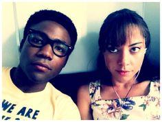 Donald Glover aka Childish Gambino and Aubrey Plaza per awesomepeoplehangingouttogether.tumblr