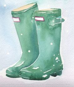 watercolor rain boots - Google Search