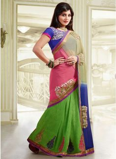 Adorable Deep Rose Pink, Beige, Blue & Lime Green Embroidered #Saree #designersarees #clothing #womenswear #womenapparel #ethnicwear