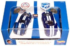 Hot Wheels 35th Anniversary Shelby Cobra 97 Dodge Viper GTS 65 Cobra Daytona 1/64 scale Limited Edition by Mattel. $29.50. Limited Edition from 1997. Authorized by Carroll Shelby. Multi-Piece Vehicle from 1st Run Tooling. Includes collector display stand & COA. 1/64 scale. Hot Wheels Collectibles for Adults 35th Anniversary of the Shelby Cobra 2 Car Set Authorized by Carroll Shelby Limited Edition. Each of these 35th anniversary cars commemorates the Shelby Cobra and the Cobra...