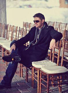 Jensen at Jared & Gen's wedding rehearsal dinner. <3 #SupernaturalCast #NewFavoritePicture