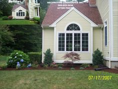Curb Appeal, New landscape design, old plant removal, plant and mulch installations Front Yard Landscaping, Curb Appeal, Landscape Design, Shed, Construction, Outdoor Structures, Plants, Gardening, Building